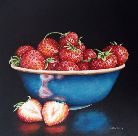 A Blue Bowl of Strawberries