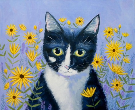Kitty with Daisies