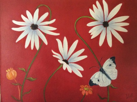 white daisy flowers on red painting