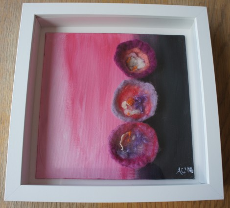 Trio of Blossoms by Anna Clarke mixed media framed