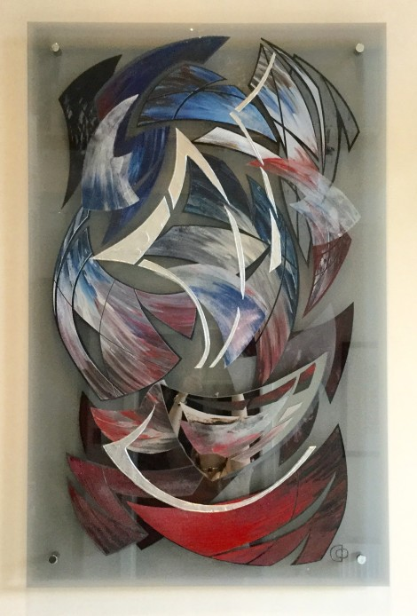 No 460 1 of 2 80 x 125 cm painting on grey glass