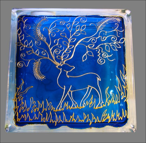 Christmas Reindeer - french blue  silver