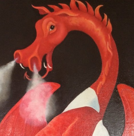 dai coch the welsh dragon painting