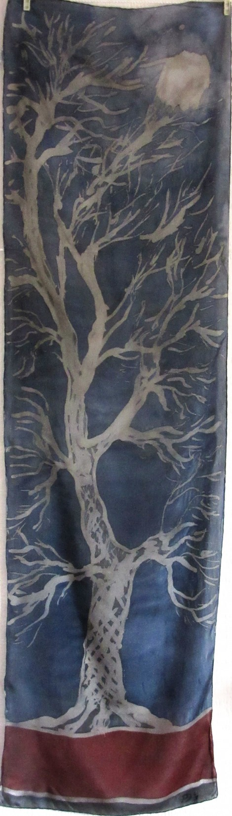 Moon in the Elm Tree crepe de Chine batik silk scarf 150x40cm