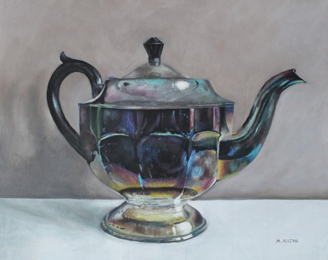 Tarnished silver teapot