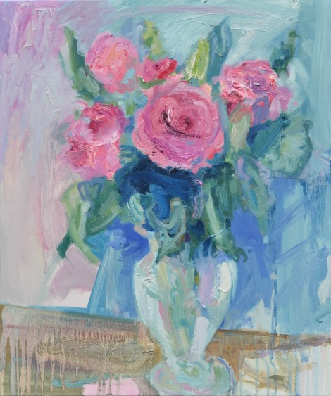 Pink Roses in a Curvy Glass Vase