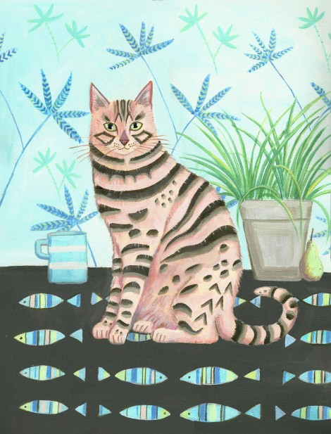 Bengal cat with still life