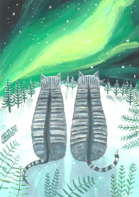 Cats with the northern lights